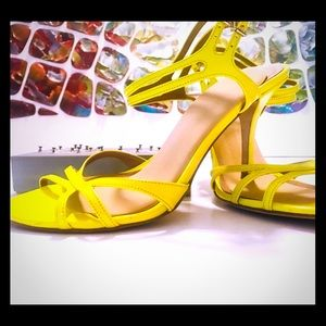 Yellow Patent Leather Strappy Sandals
